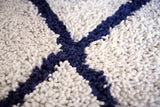 Ivory Silky Shag Rug With Navy Diamond