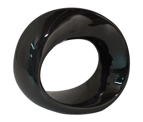 Chic Black Ceramic Loop Statuette