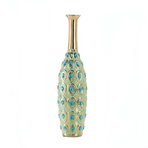 Jeweled Long Neck Peacock Vase