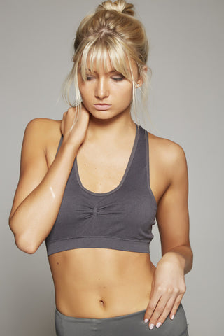 Elsa Racer Back Sports Bra (Dark Grey)
