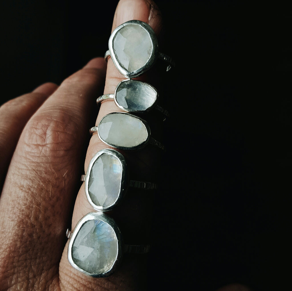 Moonstone Rings - Sterling Silver