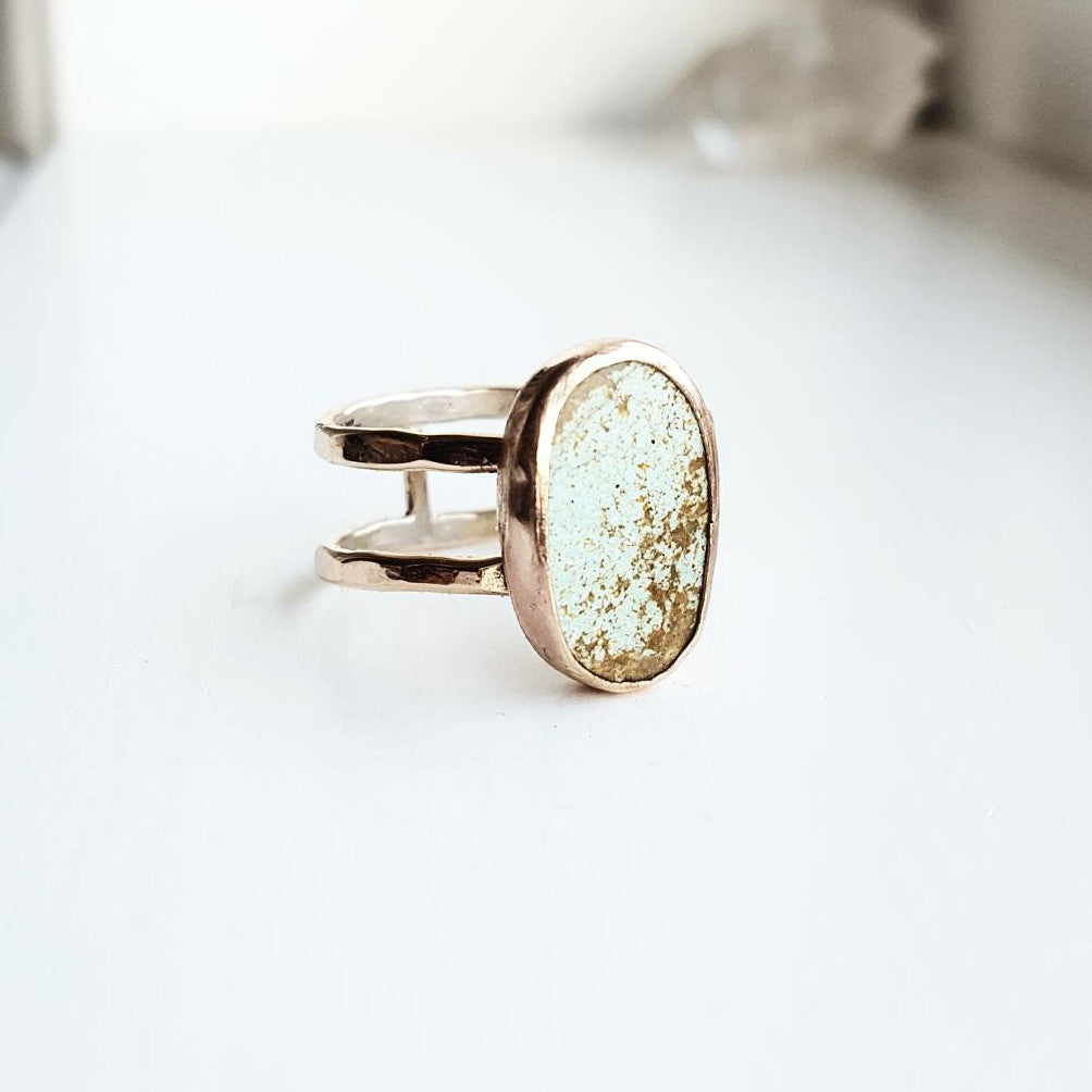 Turquoise ring - double band 14k gold filled