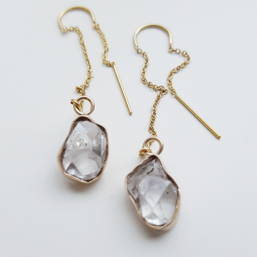 Herkimer diamond threader earrings - 14k gold filled