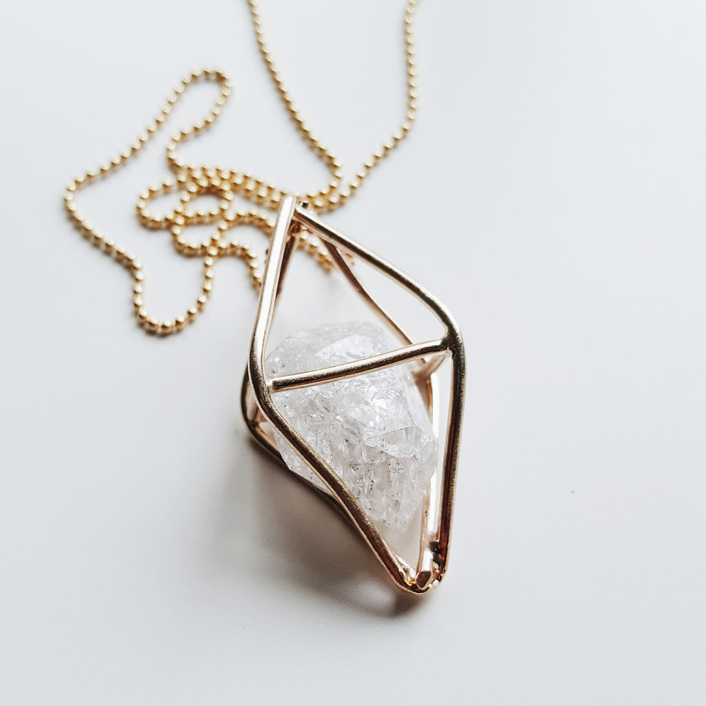 Caged Crystal - 14k gold filled