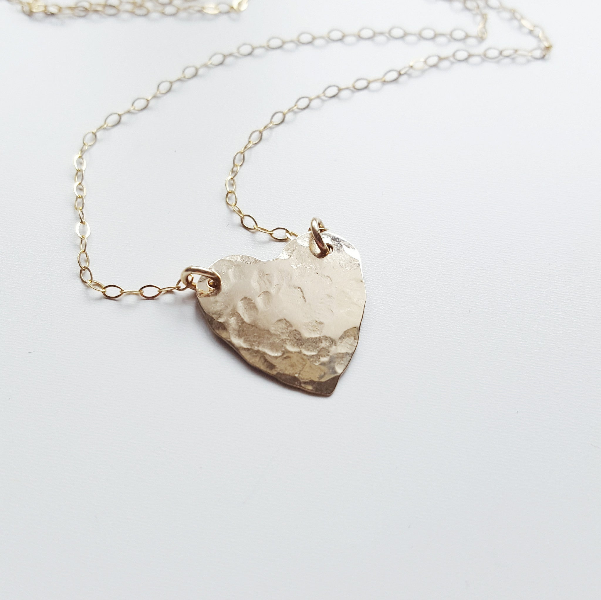 bronze hammered heart necklace with chain