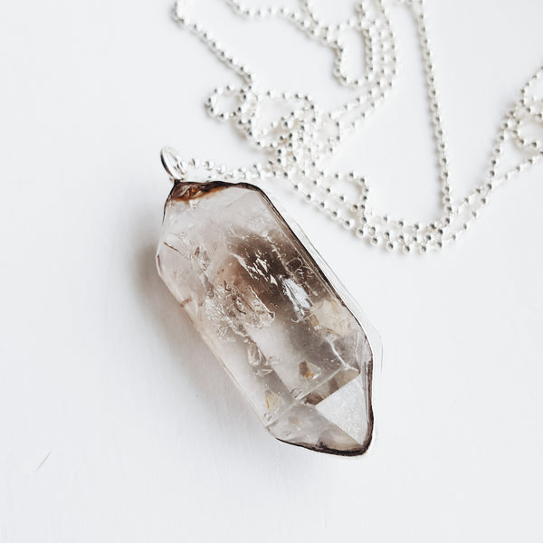 Crystal Necklace - long sterling silver