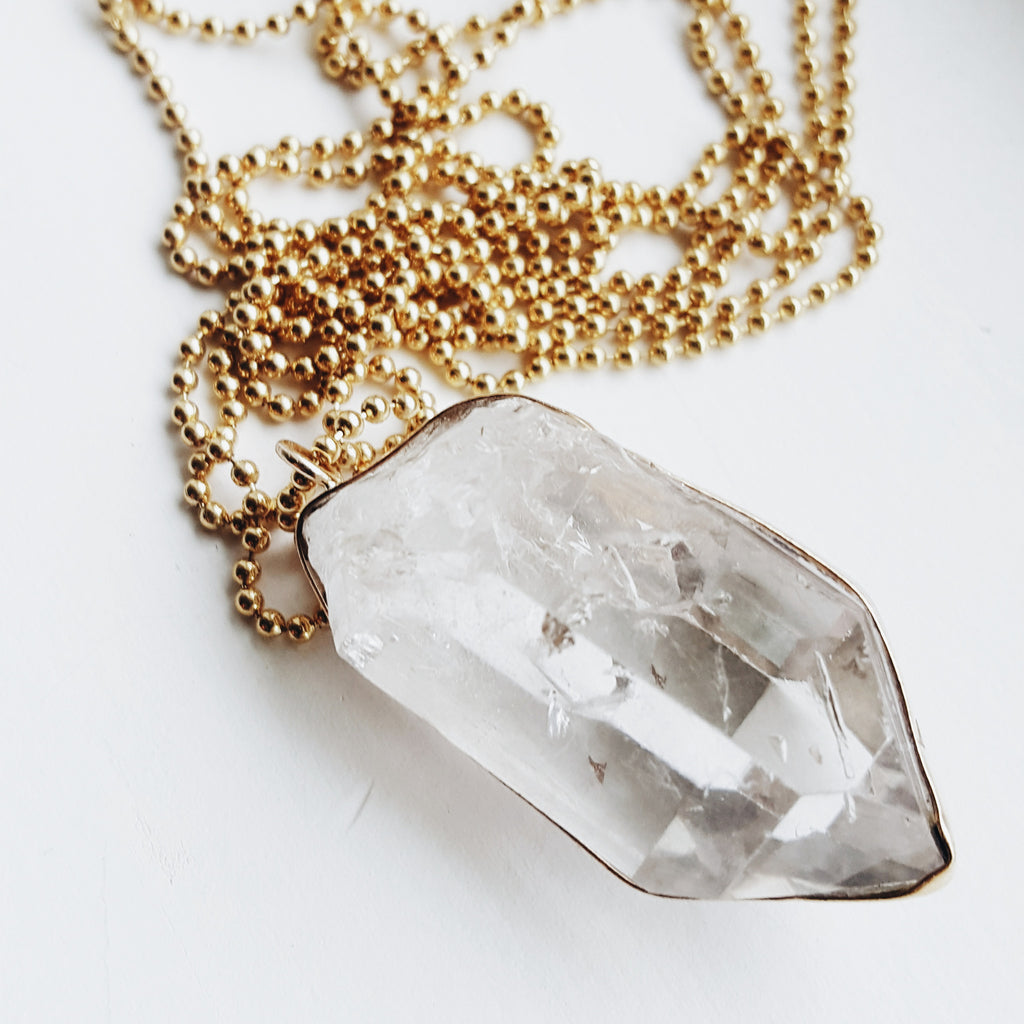 Crystal Necklace - long 14k gold filled