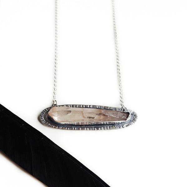 Lemurian crystal necklace - horizontal