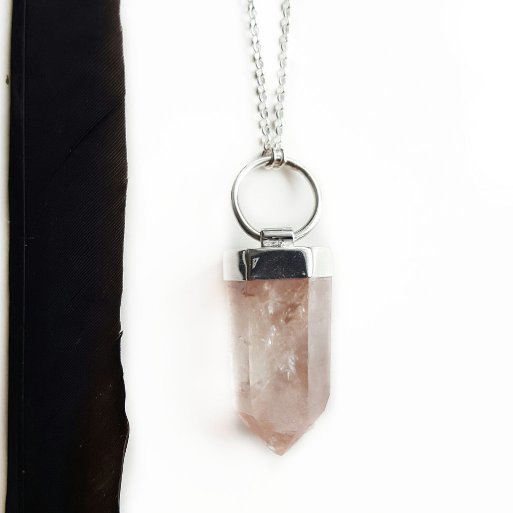lemurian crystal hoop necklace