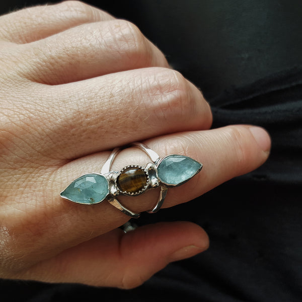 mini tri stone ring - tigers eye + aquamarine