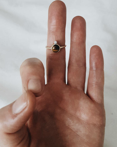 cosmic ring - tigers eye