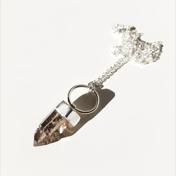Smoky Quartz Hoop Necklace - sterling silver