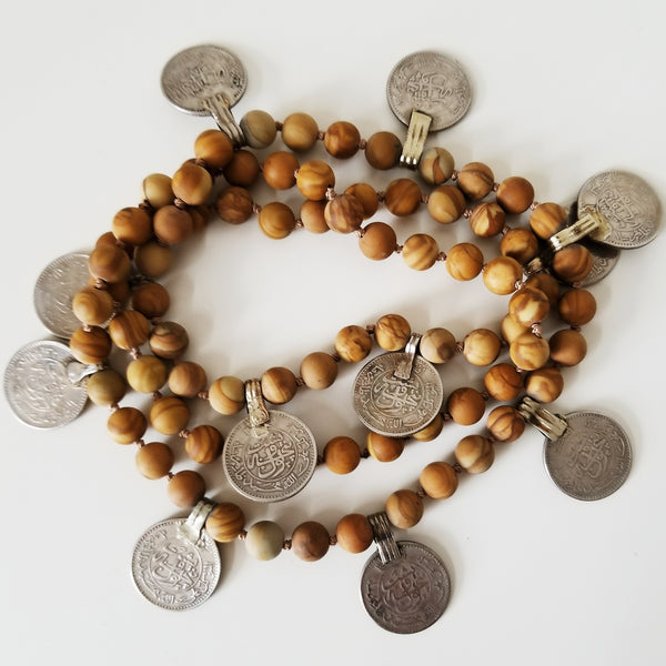 Beaded coin necklace - wood jasper