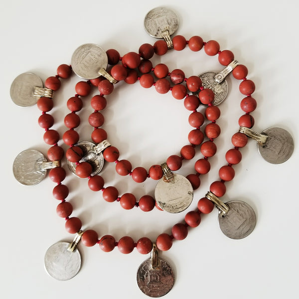 Beaded coin necklace - red jasper
