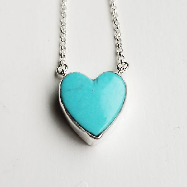Turquoise heart necklace - sterling silver
