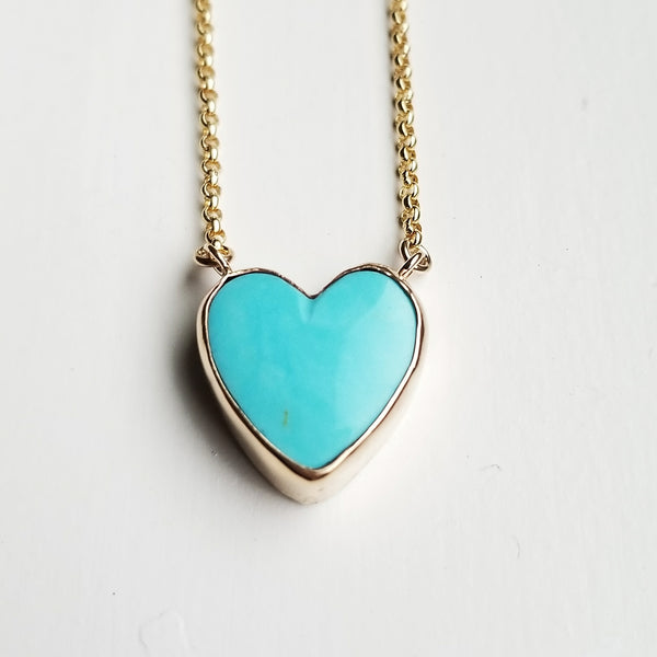 Turquoise heart necklace - 14k gold filled