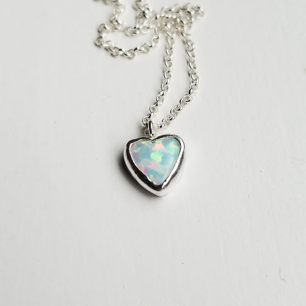 Opal heart necklace - sterling silver