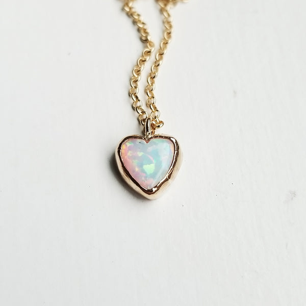 Opal heart necklace - 14k gold filled