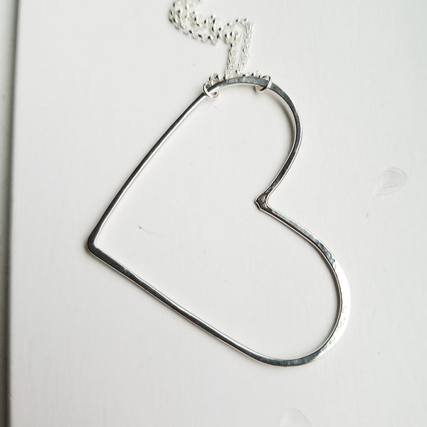 Large - open heart necklace - sterling silver