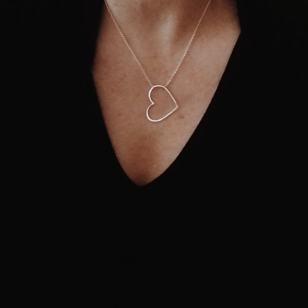 Small - open heart necklace - 14k rose gold filled