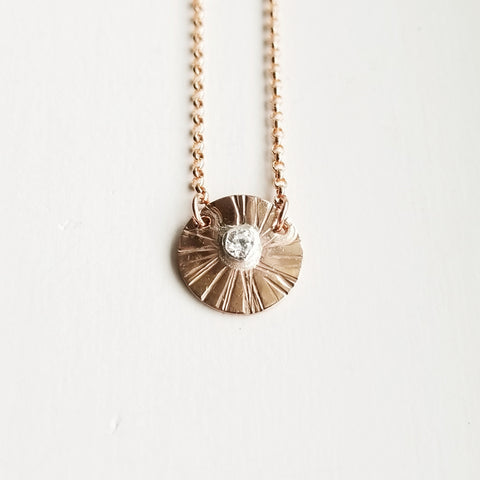Sungazer necklace - 14k rose gold filled - small