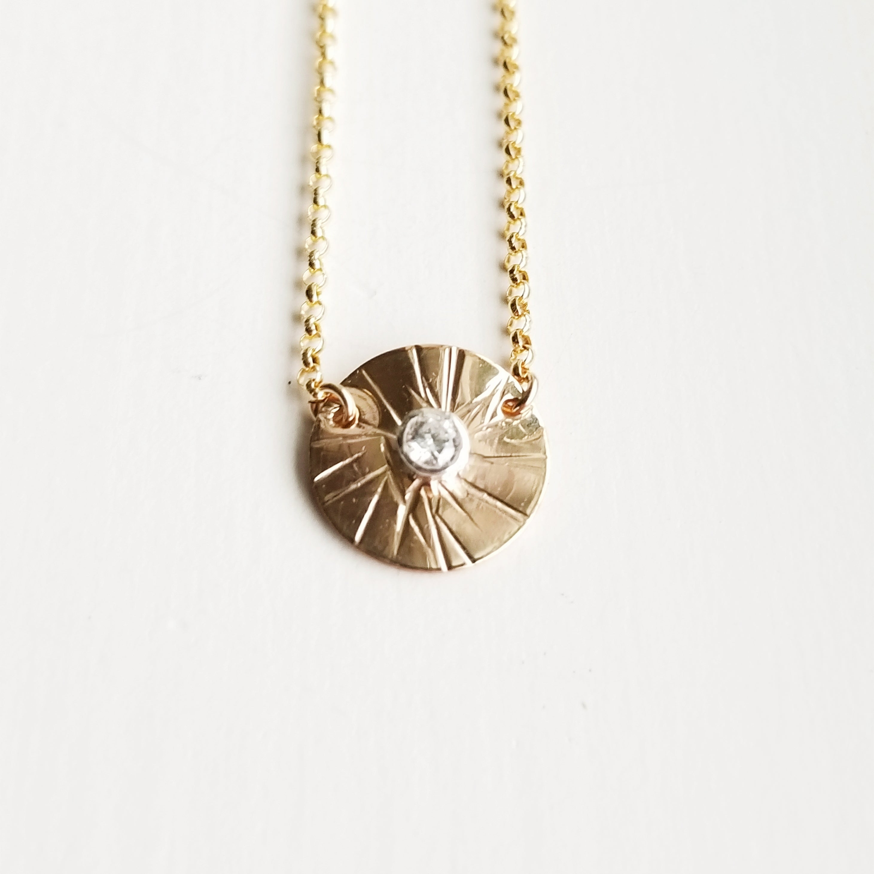 Sungazer necklace - 14k yellow gold filled - small