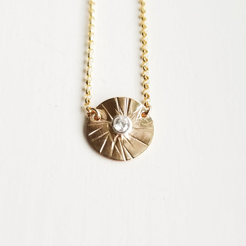 Herkimer diamond necklace - 14k rose gold filled