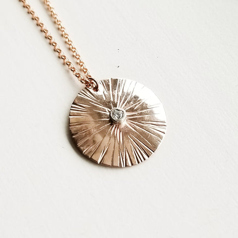 Sungazer necklace - 14k rose gold filled - large