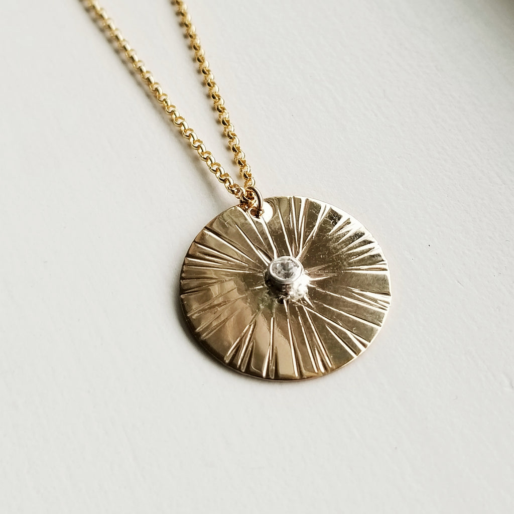 Sungazer necklace - 14k yellow gold filled - large