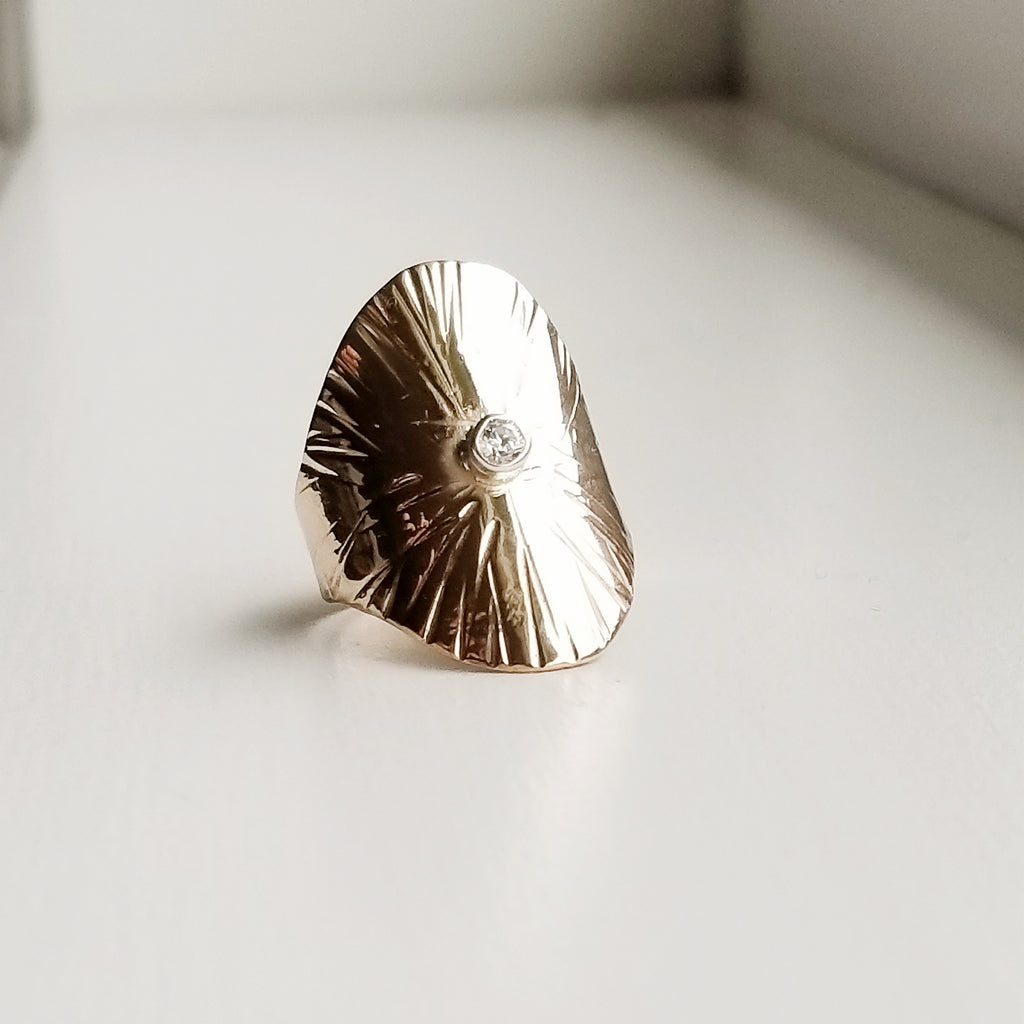 Sungazer shield ring - 14k yellow gold filled