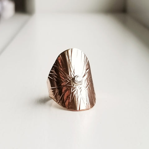 Sungazer shield ring - 14k rose gold filled