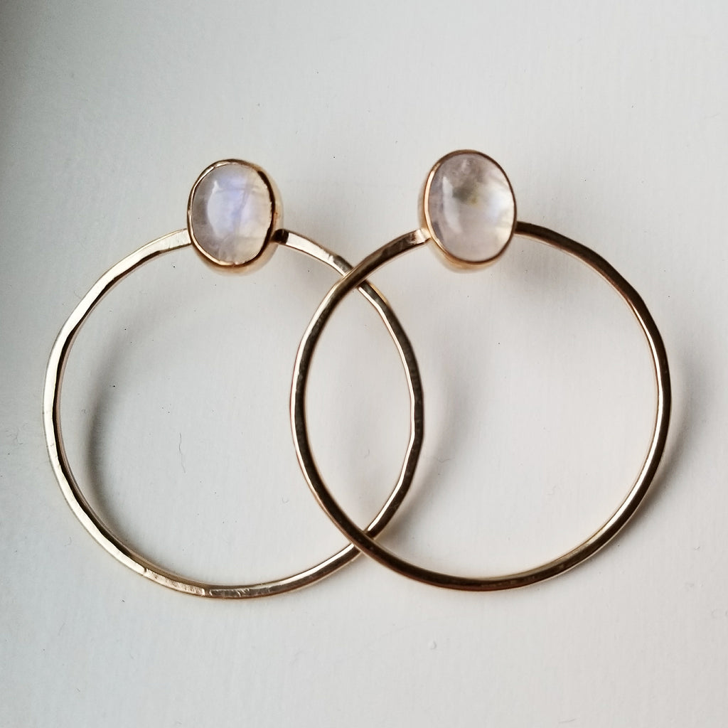moonstone hoops - 14k gold filled - small