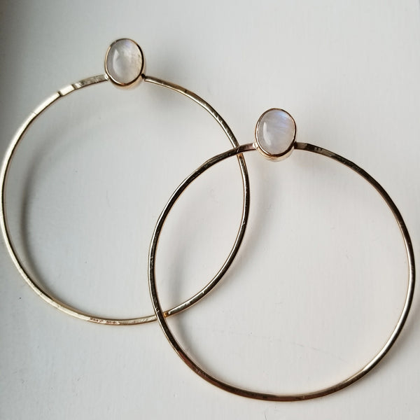moonstone hoops - 14k gold filled - big