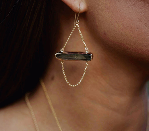Smoky quartz chain earrings - 14k gold filled