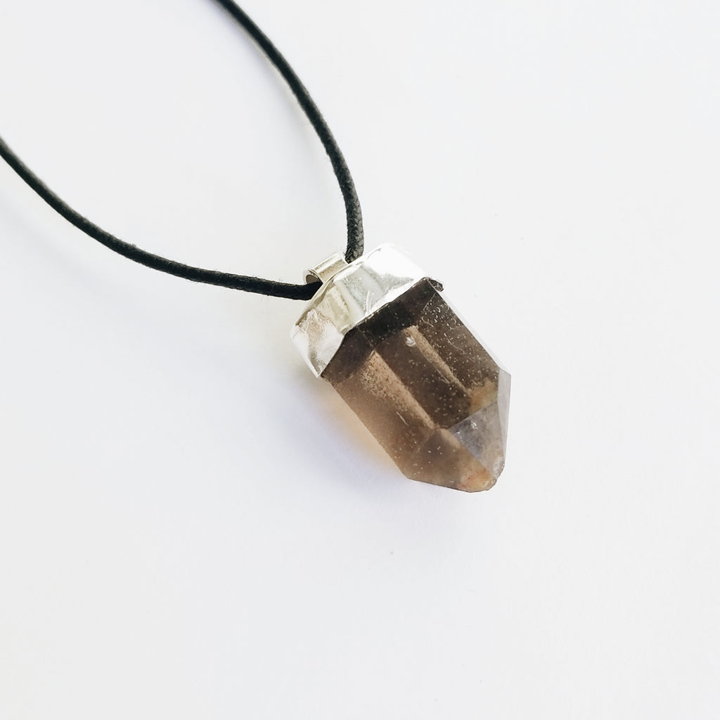 Mens (unisex) smoky quartz crystal necklace