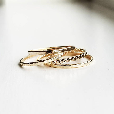Droplet ring stack - 14k gold filled