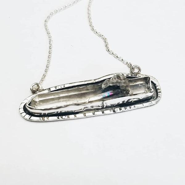 Tibetan quartz necklace - sterling silver