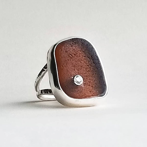Ring with gem - beachglass - sterling silver