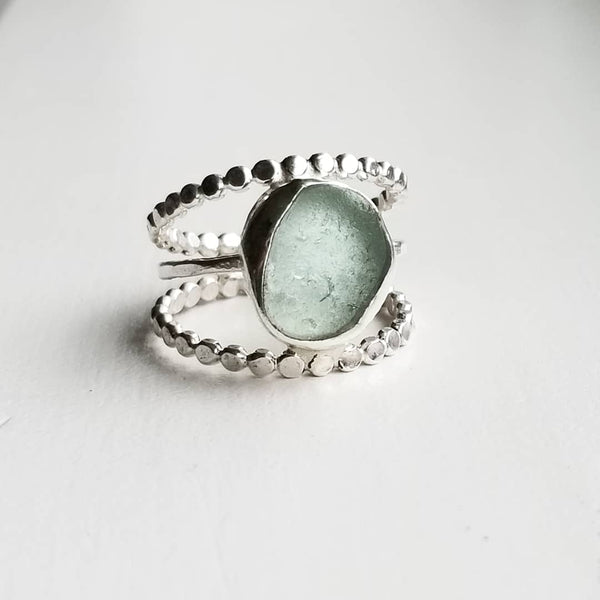 Tri band ring - beachglass - sterling silver