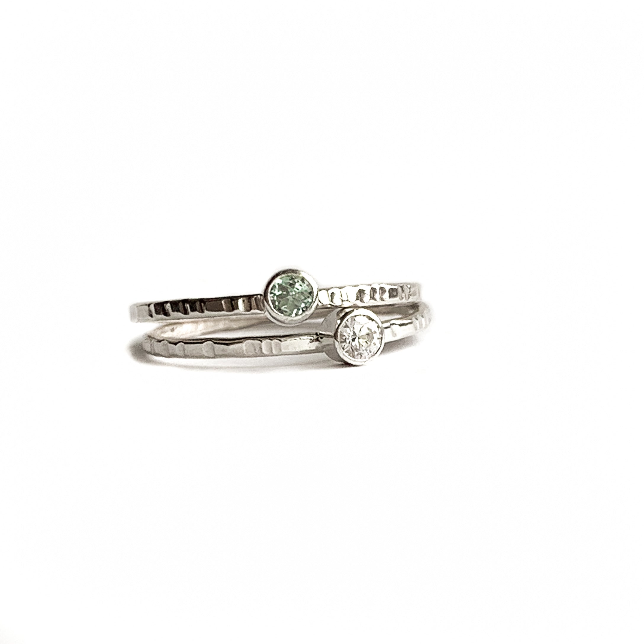 2 Gemstone rings - Silver