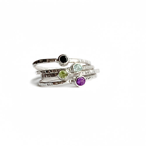 4 Gemstone rings - Silver