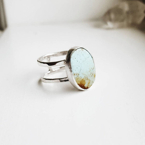 Turquoise ring - double band sterling silver