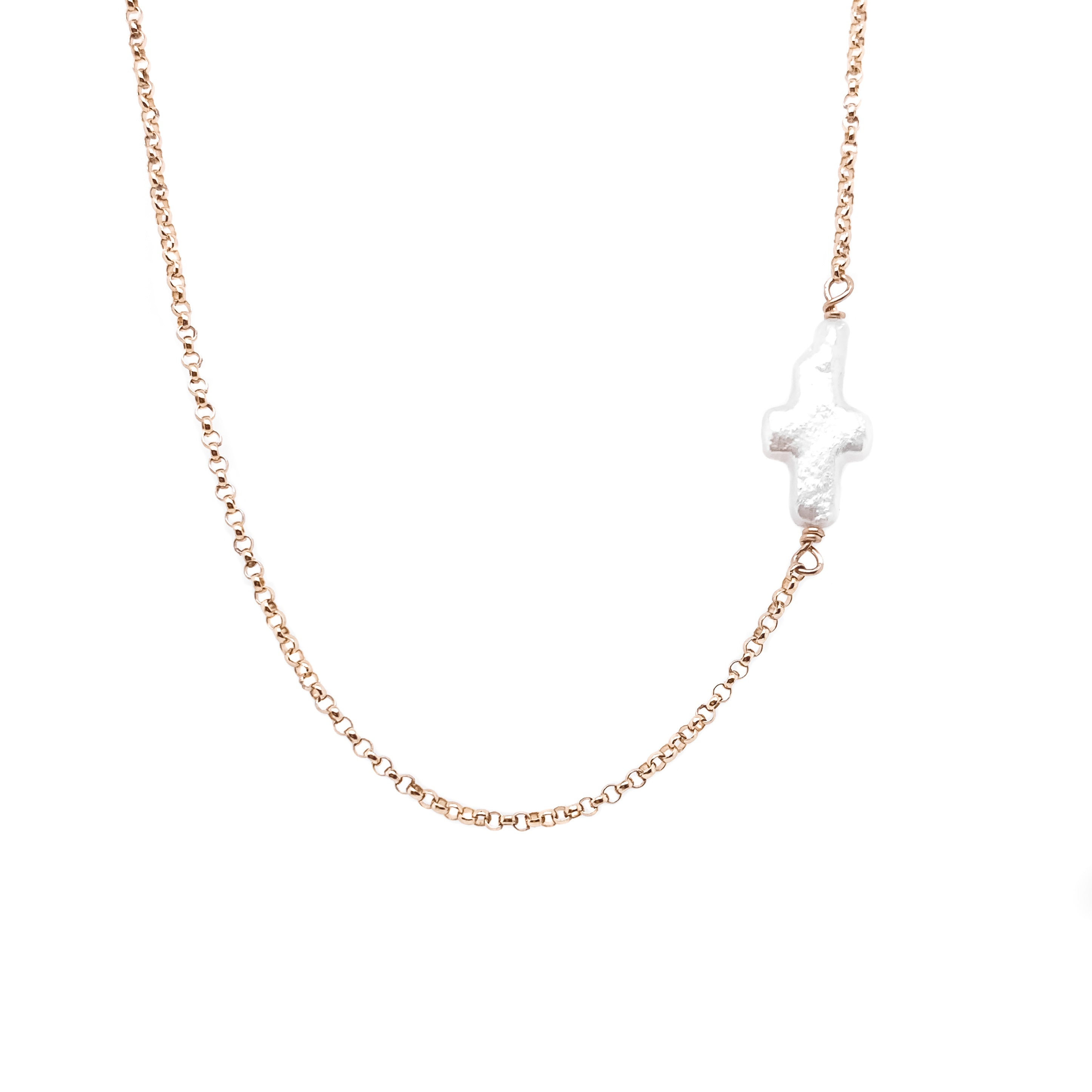 PEARL CROSS Necklace - 14K Gold Filled