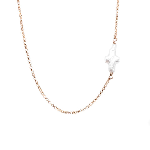 PEARL CROSS Necklace - Sterling Silver