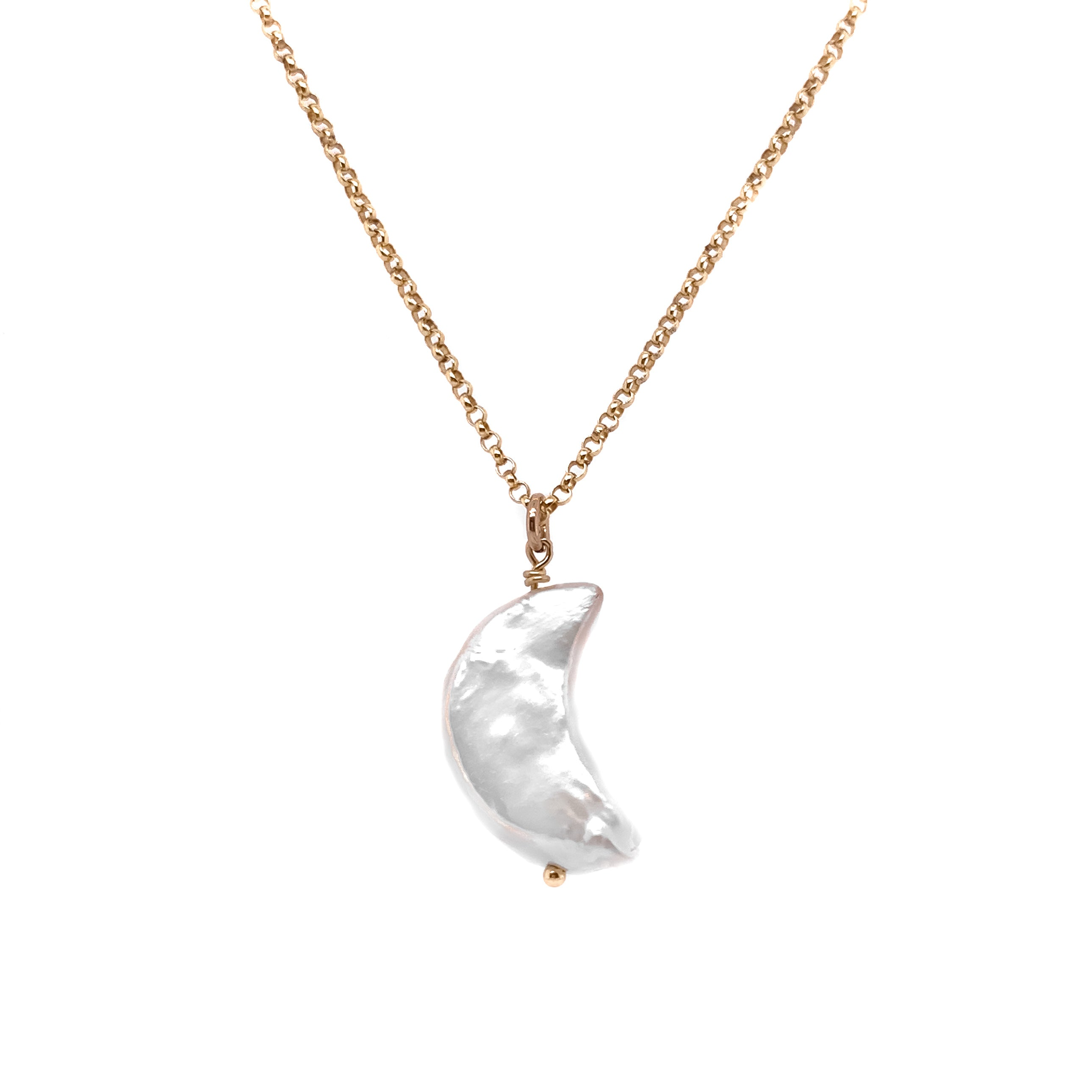 PEARL CRESCENT MOON NECKLACE- 14K Gold Filled