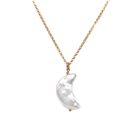 PEARL CRESCENT MOON NECKLACE- Sterling Silver