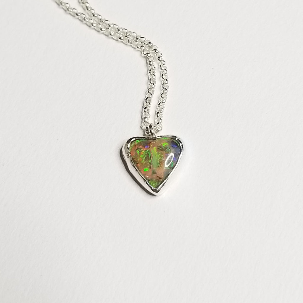 monarch opal necklace - sterling silver