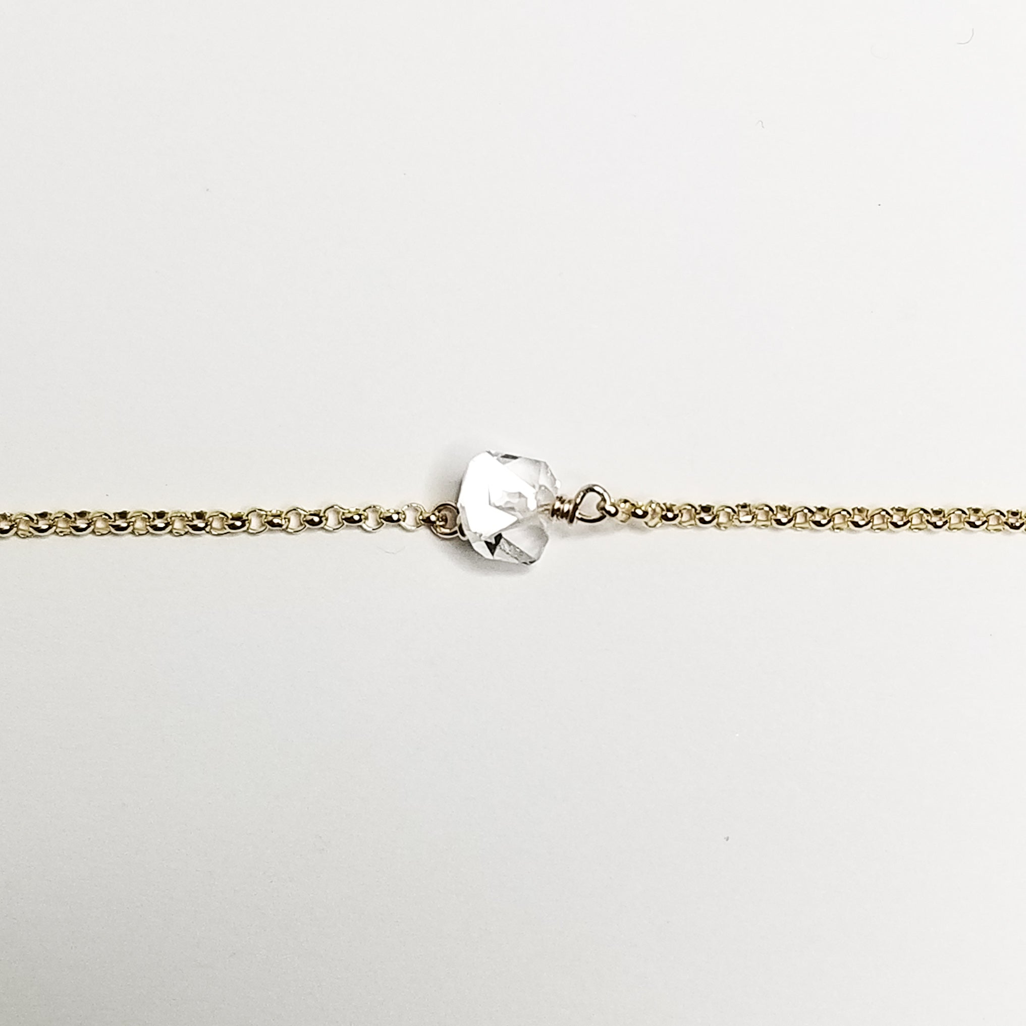 Herkimer diamond bracelet - 14k yellow gold filled