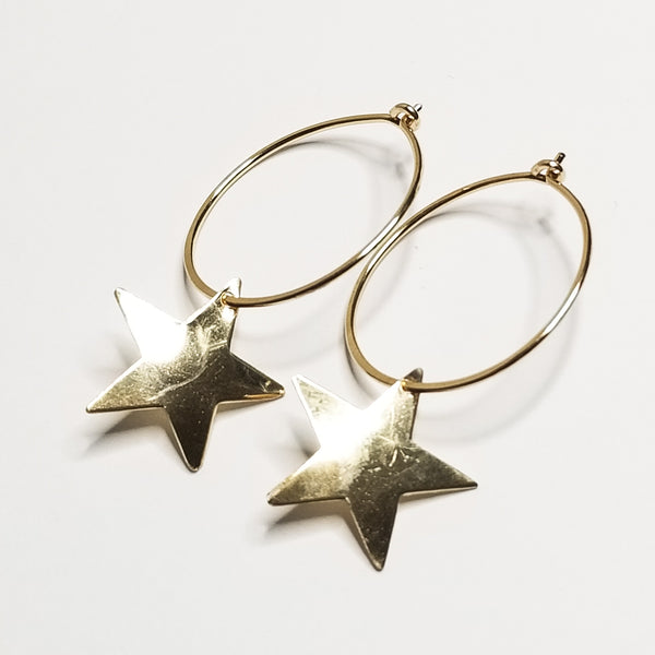 Star hoops - 14k yellow gold filled