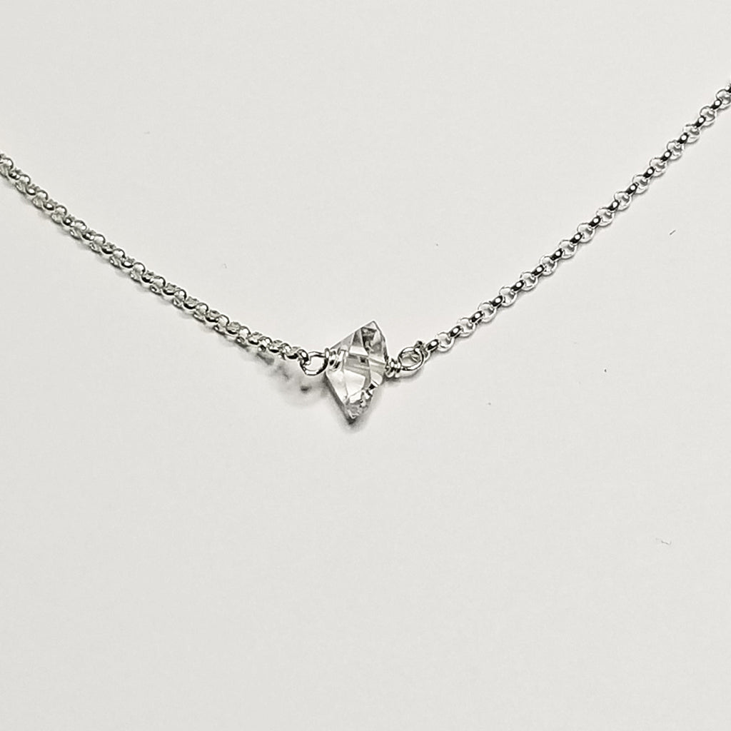 Herkimer diamond necklace - sterling silver